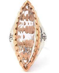 Laurent Gandini - Rose Gold Rimmed Rock Crystal Cocktail Ring - Lyst