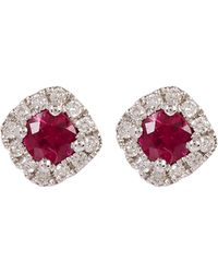 Kojis - White Gold Ruby And Diamond Cluster Stud Earrings - Lyst