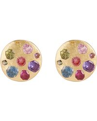 Polly Wales - Gold Blossom Crush Multi-crystal Disc Stud Earrings - Lyst