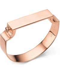 Monica Vinader | Signature Rose Gold-plated Wide Petite Bangle | Lyst