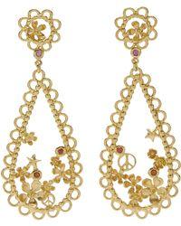 Alex Monroe - Gold-plated Flower Power Lace-edged Teardrop Earrings - Lyst