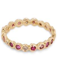 Satomi Kawakita Gold Multi Red Circle Eternity Ring