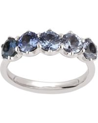 Dinny Hall - White Gold Elyhara Five Sapphire Ring - Lyst