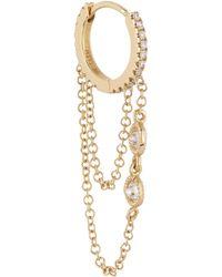 "Maria Tash - 5/16"" Two Chain And Floating Diamonds Eternity Hoop Earring - Lyst"