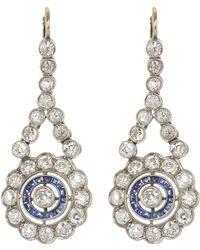 Kojis - White Gold Edwardian Diamond And Sapphire Drop Earrings - Lyst
