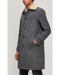 Oliver Spencer - Beaumont Removable Shearling Wool Coat - Lyst