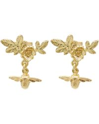 Alex Monroe - Gold Floral Cluster Stud Earrings With Bee Drops - Lyst