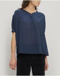 MASSCOB Hanne Gathered Cotton T-shirt - Blue