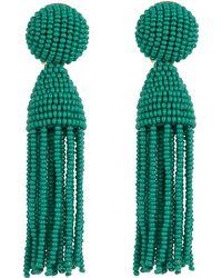 Oscar de la Renta - Short Beaded Tassel Clip-on Earrings - Lyst