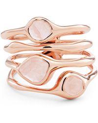 Monica Vinader - Rose Gold Vermeil Siren Rose Quartz Cluster Cocktail Ring - Lyst