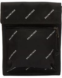 Balenciaga - Men's Logo Explorer Pouch Strap - Black White - Lyst
