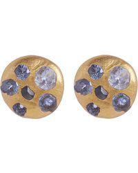 Polly Wales - Rose Gold Celeste Sapphire Disc Stud Earrings - Lyst