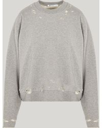 T By Alexander Wang - Dry French Terry Distressed Sweatshirt - Lyst