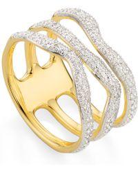 Monica Vinader - Gold Vermeil Riva Wave Triple Band Diamond Ring - Lyst
