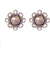 Stephen Dweck - Sterling Silver Pink Mabe Pearl And Peach Quartz Flower Clip-on Earrings - Lyst