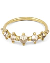 Polly Wales | Gold Five Princess Cut Diamond Halo Ring | Lyst