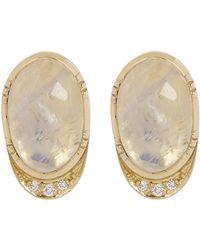 Brooke Gregson - Gold Orbit Halo Moonstone Diamond Stud Earrings - Lyst
