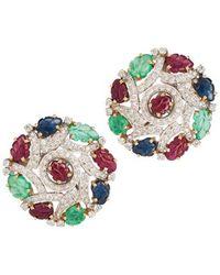 Kojis - White Gold Multi-stone Cluster Clip-on Stud Earrings - Lyst