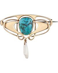 Kojis - Gold Original Liberty Turquoise And Pearl Brooch - Lyst