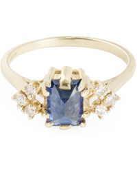 Anna Sheffield - Gold Bea Arrow Blue Sapphire Ring - Lyst
