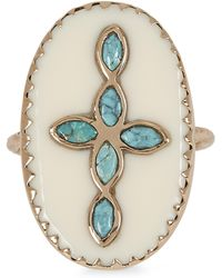 Pascale Monvoisin Rose Gold Bowie N°3 Turquoise And Bakelite Cross Ring