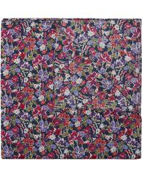 Liberty Small Floral Cotton Neckerchief 58 X 58cm - Blue