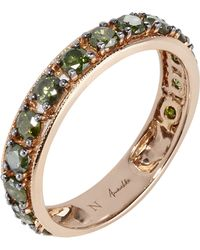 Annoushka 18ct Rose Gold Dusty Diamonds Green Diamond Eternity Ring