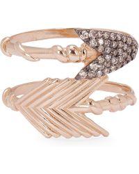 Kismet by Milka - Rose Gold Arrow Diamond Double Ring - Lyst
