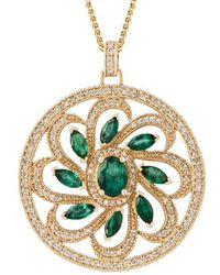 Kojis - Gold Emerald And Diamond Pendant Necklace - Lyst