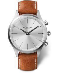 Kronaby - Sekel Brown Leather Strap Smart Watch - Lyst