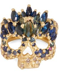 Polly Wales - Gold Abelarde Multi-stone Skull Ring - Lyst