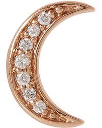 Andrea Fohrman - Rose Gold White Diamond Mini Crescent Moon Stud Earring - Lyst