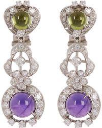 Kojis - White Gold Suffragette Gemstone Clip-on Earrings - Lyst