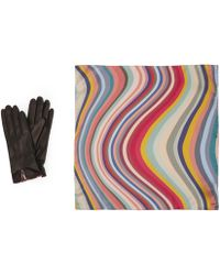 Paul Smith - Swirl Silk Scarf And Leather Gloves Gift Set - Lyst