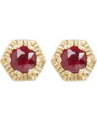 Satomi Kawakita - Gold Baby Hexagon Ruby Stud Earrings - Lyst