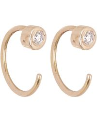 Melissa Joy Manning - White Diamond Gold Hug Hoop Earrings - Lyst