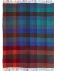 Paul Smith - Check Fringe Lambswool Blanket Scarf - Lyst