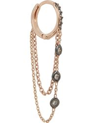 Kismet by Milka - Rose Gold And White Diamond Chain Single Hoop Earring - Lyst