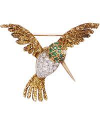 Kojis - Gold Gemstone Hummingbird Brooch - Lyst