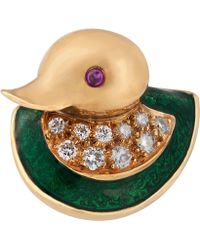 Kojis - Gold Ruby And Diamond Enamel Duck Brooch - Lyst