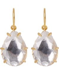 Larkspur & Hawk - Gold-washed White Quartz Caterina One-drop Earrings - Lyst