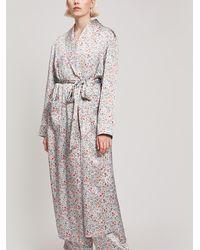 Liberty - Delilah Silk Satin Long Robe - Lyst