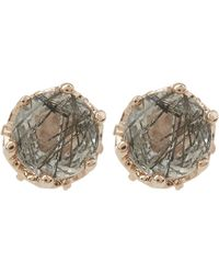 Anna Sheffield - Rose Gold Petite Solitaire Earrings - Lyst
