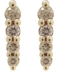Anna Sheffield - Gold Pave Point Stud Earrings - Lyst