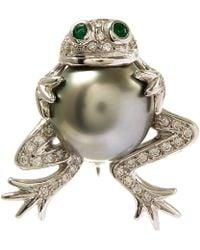 Kojis - Tahitian Pearl Frog Diamond Brooch - Lyst