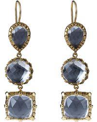 Larkspur & Hawk - 18ct Gold Three Drop White Quartz Earrings - Lyst