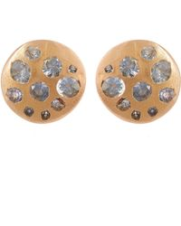 Polly Wales - Rose Gold Blue Sapphire Crystal Disc Studs - Lyst