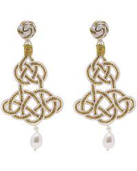 Anna E Alex | Lamé Silk Passementerie Chandelier Pearl Drop Earrings | Lyst