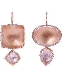 Larkspur & Hawk | Rose Gold-washed White Quartz Double Drop Earrings | Lyst