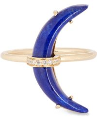 Andrea Fohrman - Gold Lapis Lazuli Crescent Moon Diamond Ring - Lyst